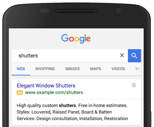 adwrods structured snippets