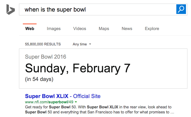 when is the super bowl bing
