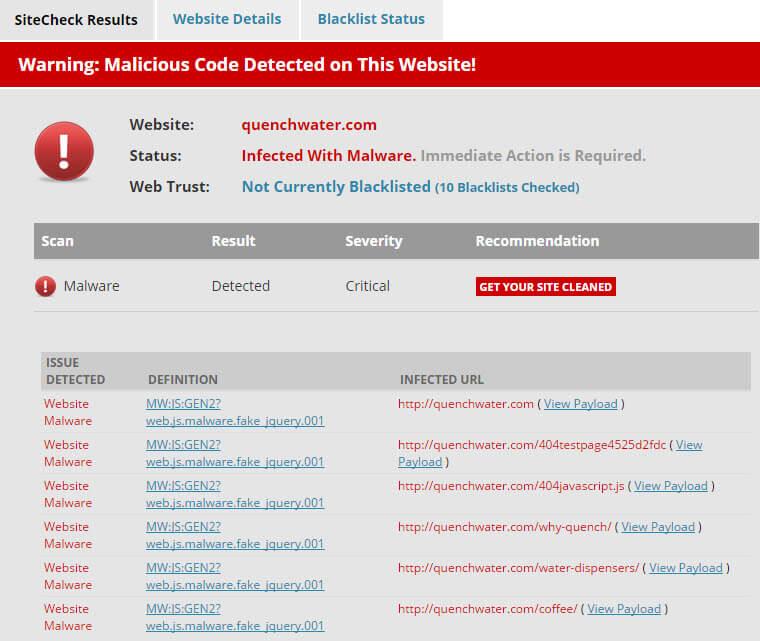 Sucuri Site Check Malware Detetcted