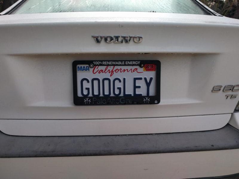 Googley Volvo License Plate
