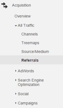 Finding referrals in Google Analytics