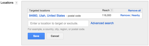 Targeting Locations within Google Adwords
