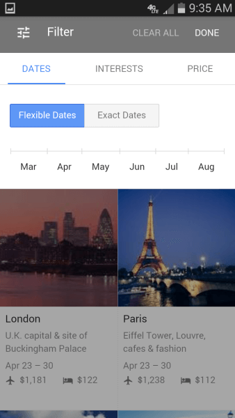 Google destination dates