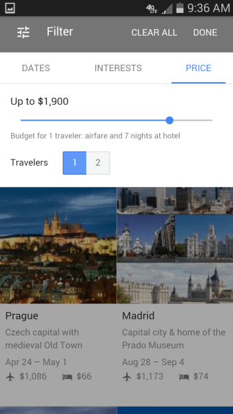 Google destination price