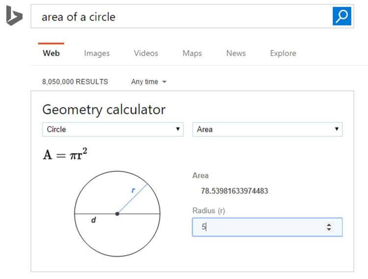 bing geometry calculation