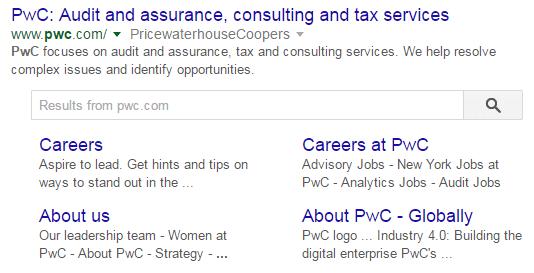 PwC Sitelinks