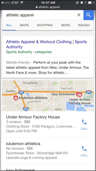 Athletic Apparel Mobile