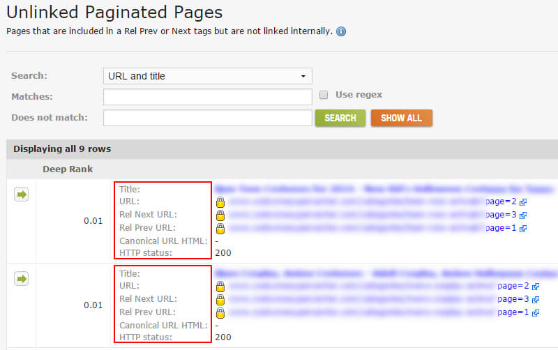 unlinked pages report in deep crawl