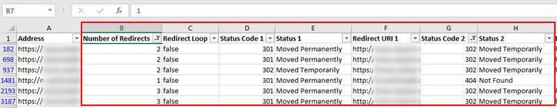 redirect chains report in Excel