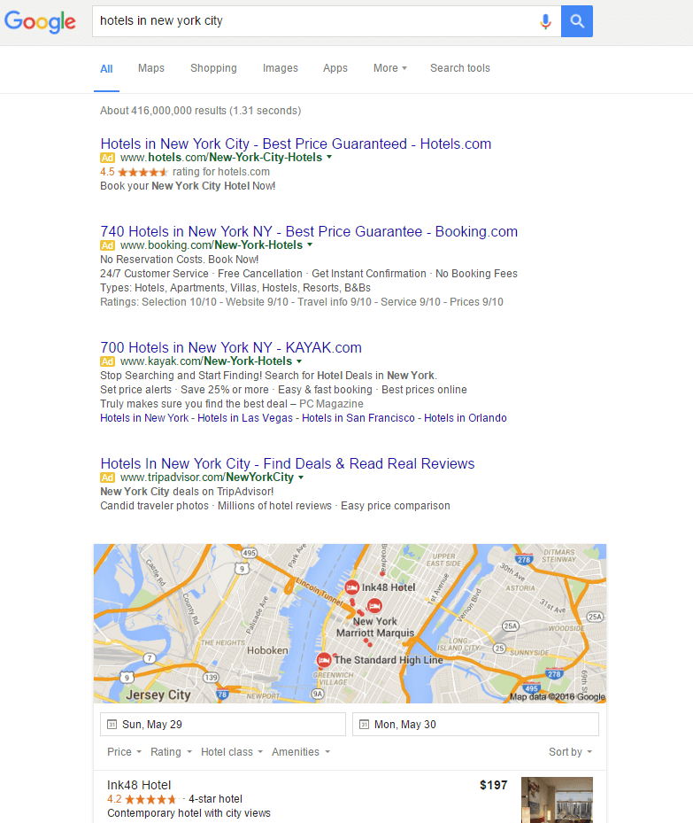 hotels in new york city SERP