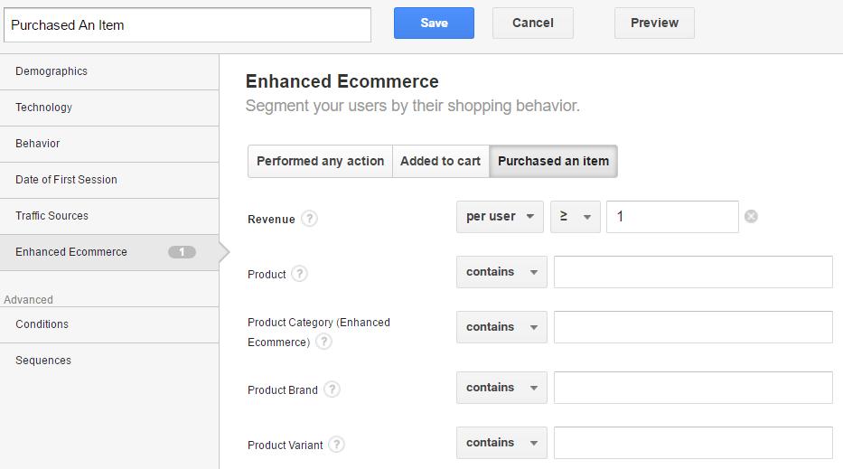 Custom Segment in Google Analytics - Item Purchased