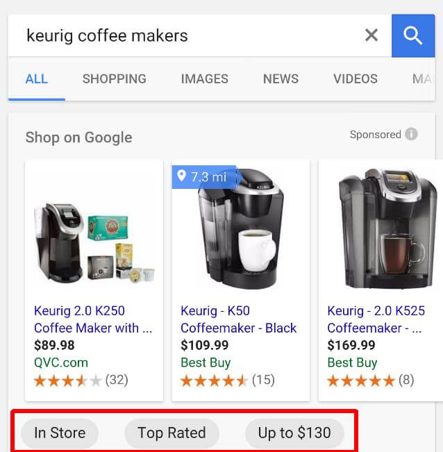 google shopping filter buttons