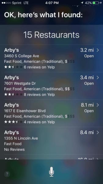 Arbys local search to siri