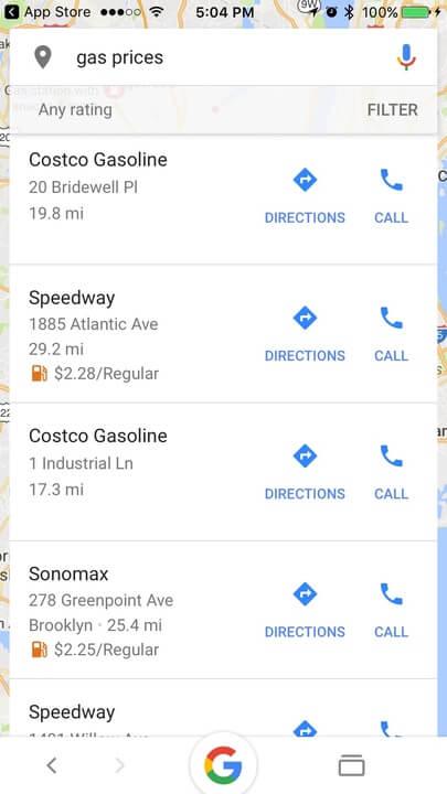 Google app ios gas prices