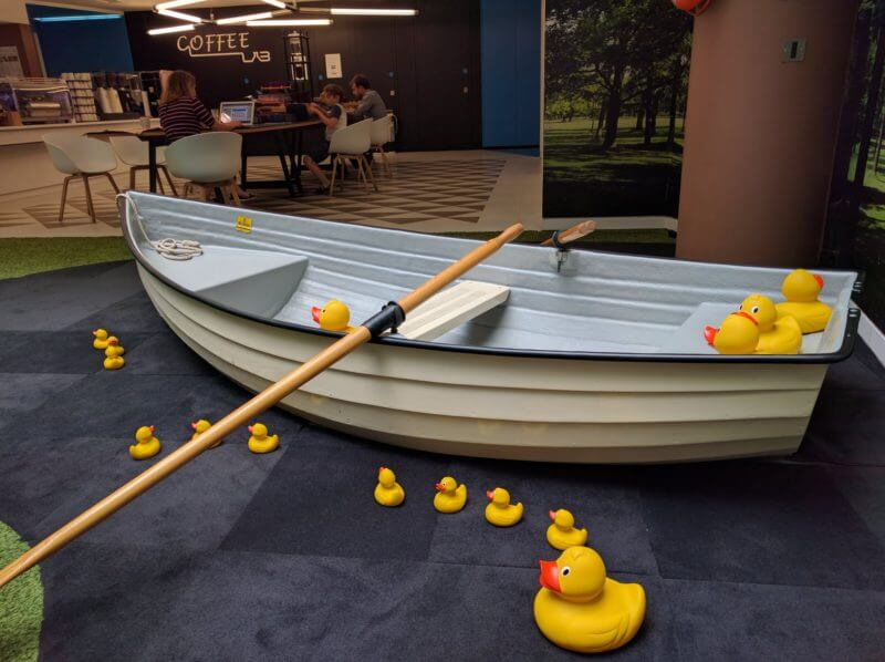 Google row boat inside the Google UK office
