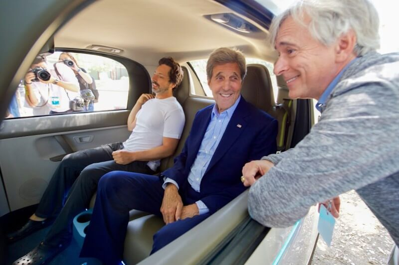 John Kerry with Sergey Brin in Google Self Driving car