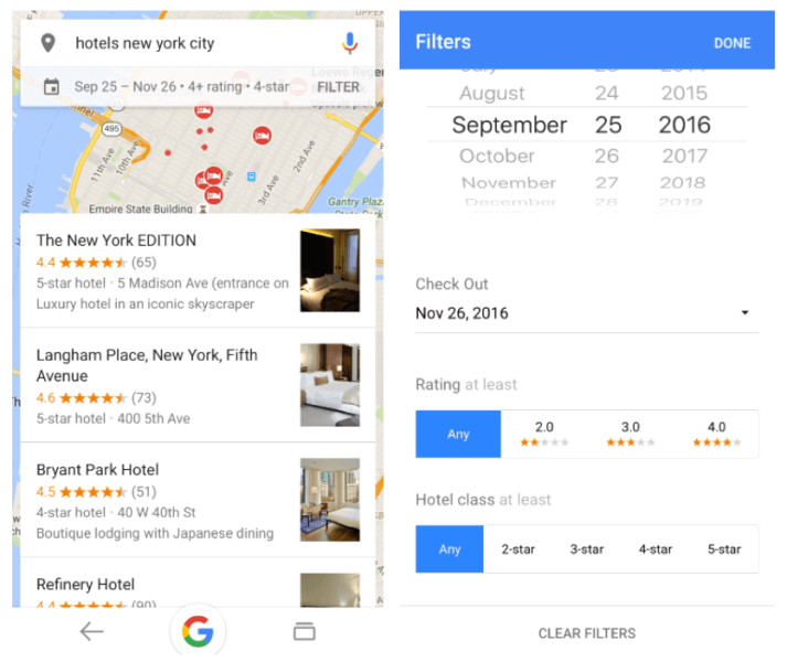 Google hotel filters