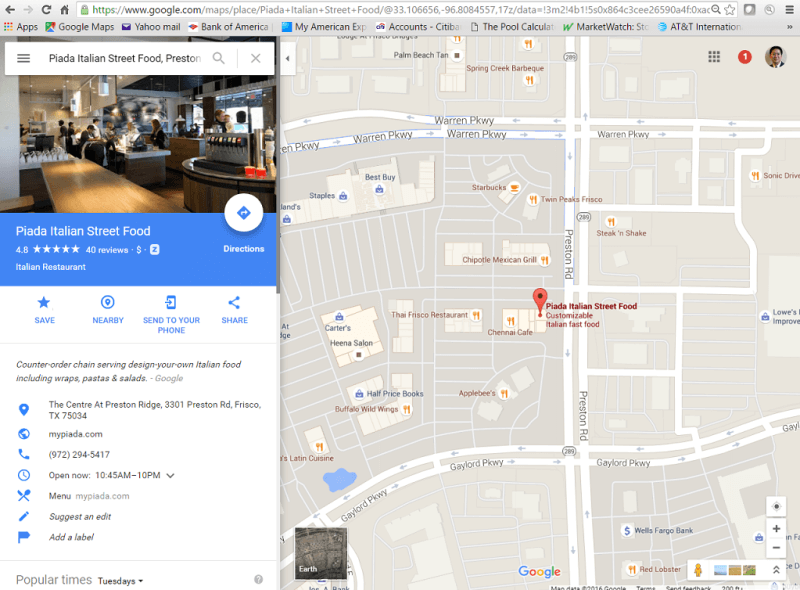 Google maps result for Piada Italian Street Food