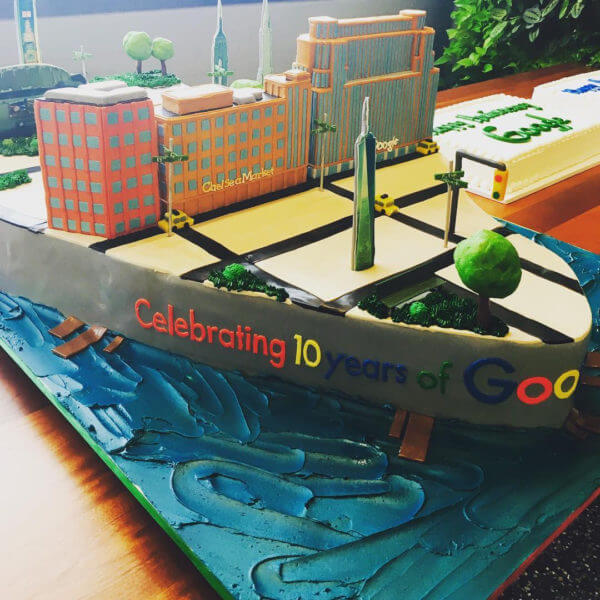 Google NYC 10 year anniversary birthday cake