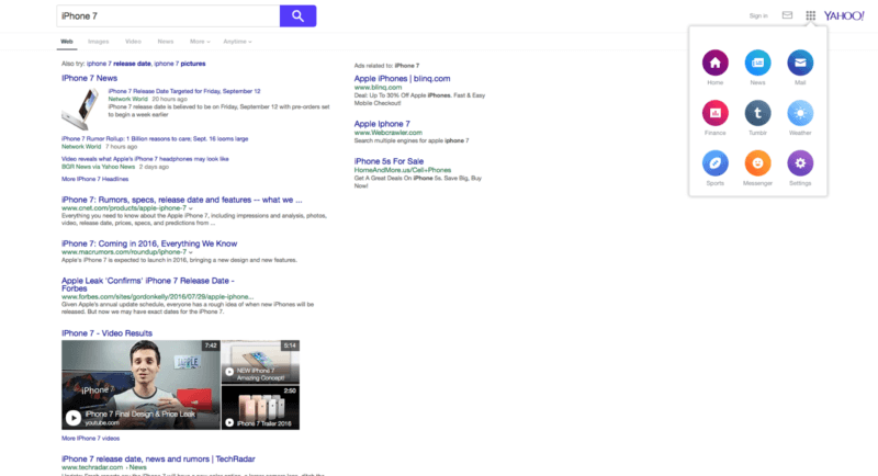 Yahoo tests a new SERP interface