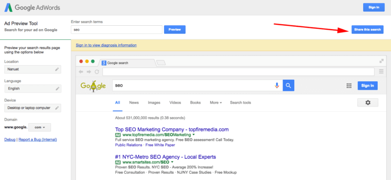 share this search google adwords preview
