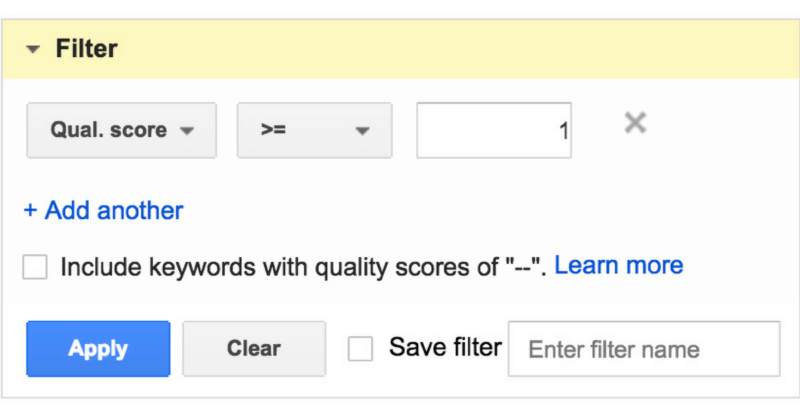 null quality score reporting in adwords