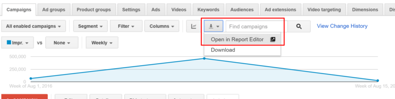 open in report editor adwords