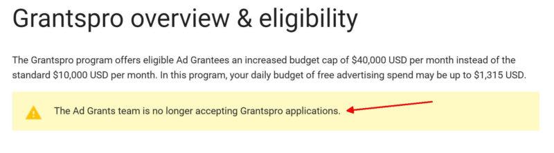 google no longer taking Grantspro applications