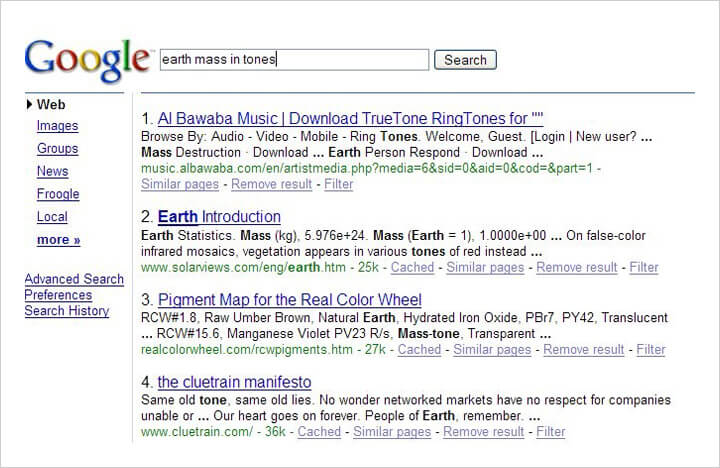 Google search results in 2006.