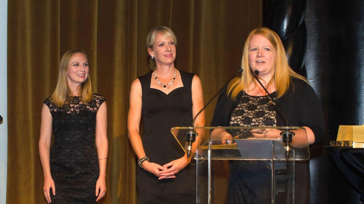 From left, Merete Kenworthy, Kristy Croft and Courtney Demko from Razorfish accept the Landy for Best Retail SEM Initiative. The team also took home the prize for Best Mobile SEM Initiative.