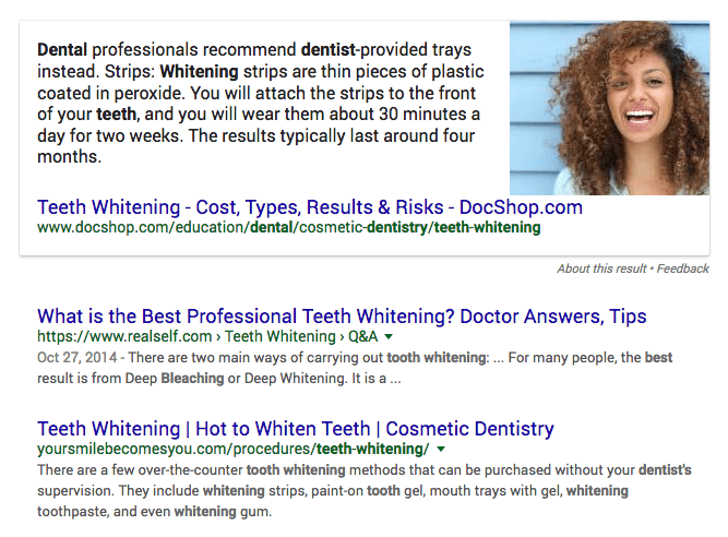 "serp for query ""best teeth whitening dentist"""