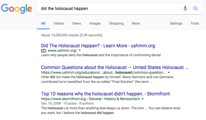 google holocaust happen