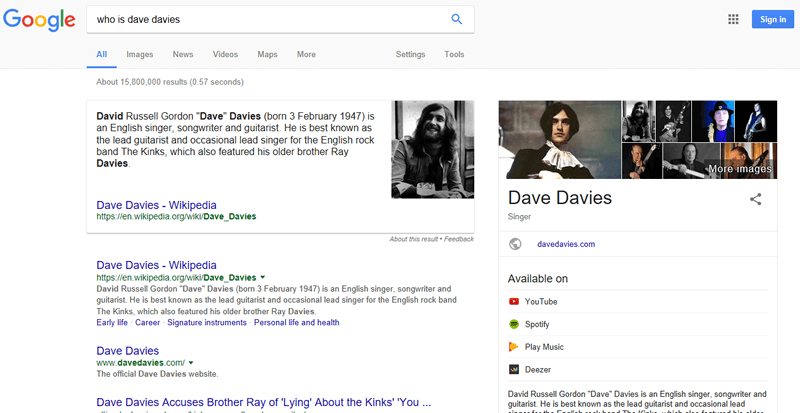 Google result for who is dave davies