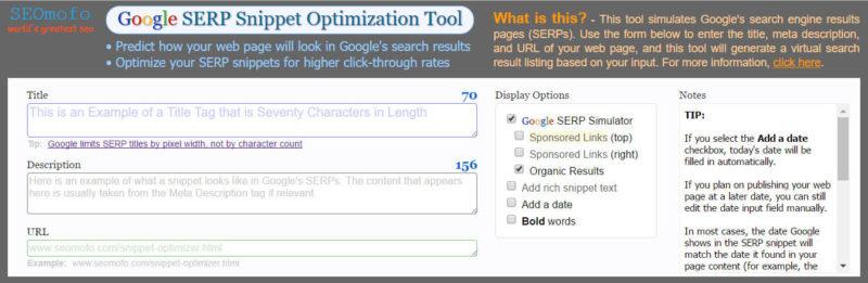 SEOmofo Google SERP Snippet Optimization Tool