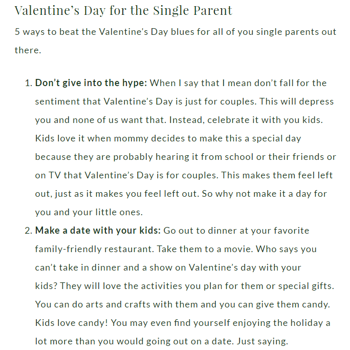 V Day Single Parent Post