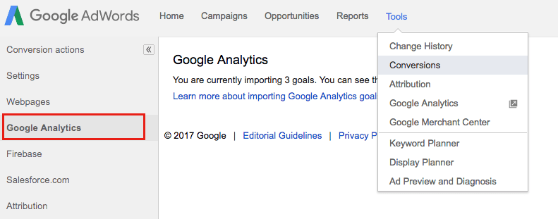 Figure 5: Google AdWords Tools screen