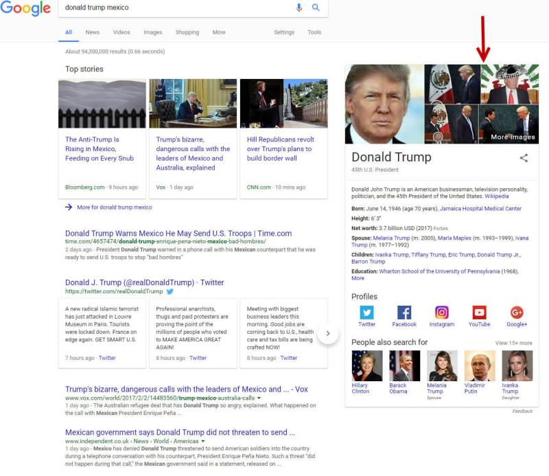 Donald Trump Mexico with Knowledge Graph