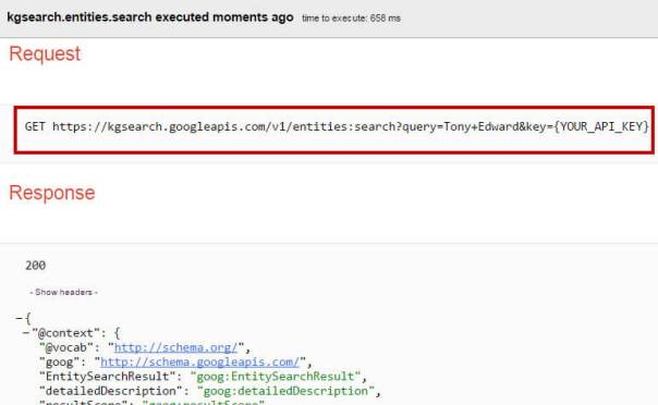 Knowledge Graph HTTP Request URL