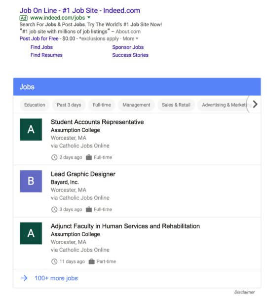 Is Google testing its own jobs search engine?