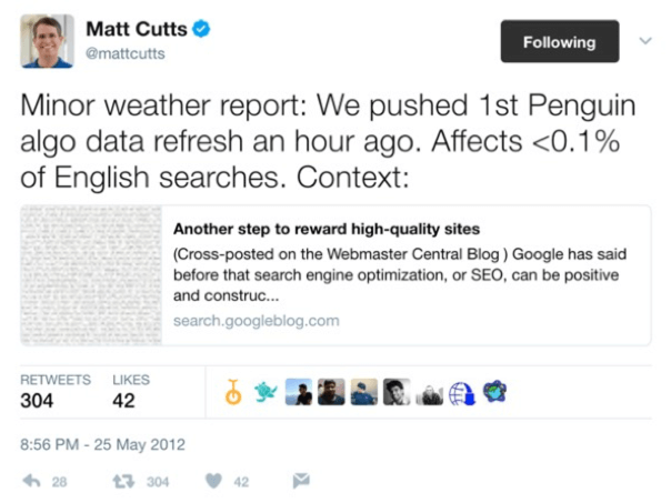 Matt Cutts Penguin Tweet