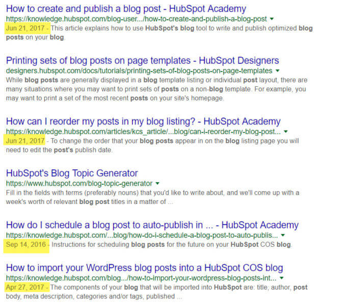 Blog post dates appear in SERPs