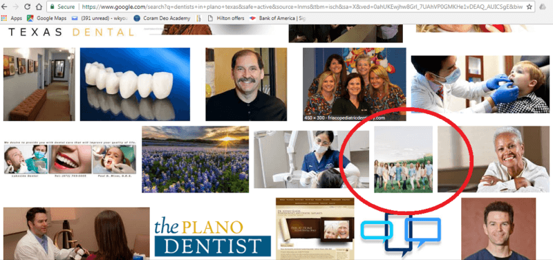 Employees in a group picture of dental practice staff are too small to make out in the thumbnail version