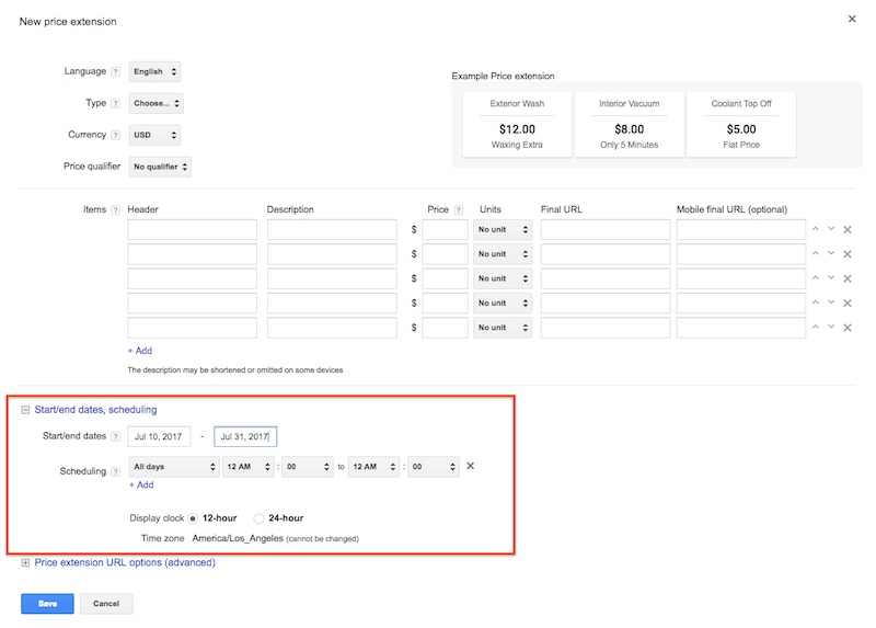 scheduling price extensions in adwords