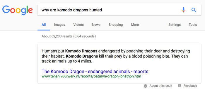 Why are Komodo Dragons Hunted Featured Snippet