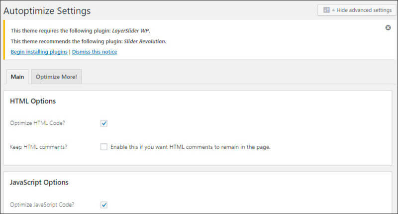 A screenshot of the Autoptimize WordPress plugin