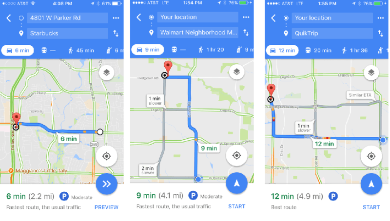Time to Distance Conversion - Google maps