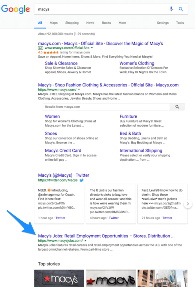 macy's job site in search results