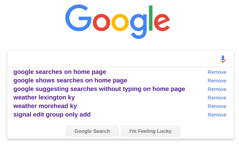 Updated: Google Home Page Search Box Now Shows You Recent