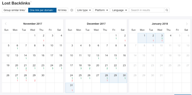 lost links calendar view
