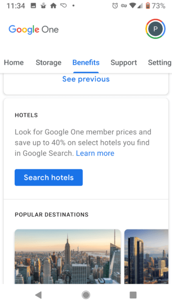 google-one-benefits-hotels-338x600 Google Drive's rebrand to Google One includes offers for hotels found in Search